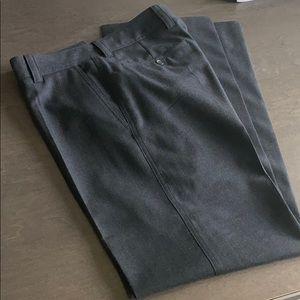 Hugo Boss dark charcoal w brown thin stripe
